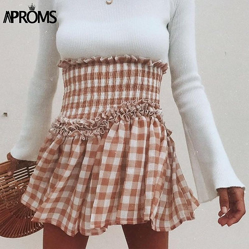 Aproms Khaki White Plaid Print Mini Skirts Women Autumn Ruffles Elastic High Wai