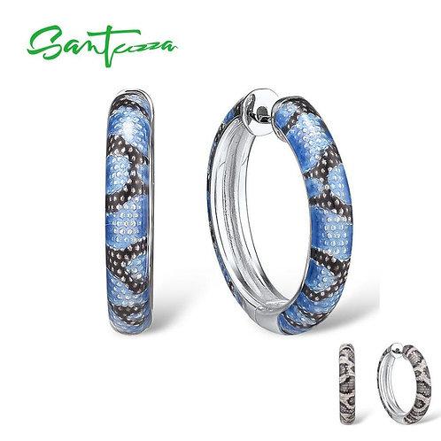 SANTUZZA  925 Sterling Silver Earrings For Women Delicate Blue Grey Enamel Snake