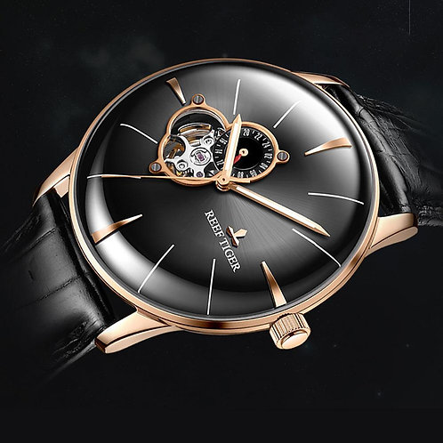 2019 Reef Tiger/RT Men's Dress Watch Top Luxury Brand Automatic Mechanical Leath