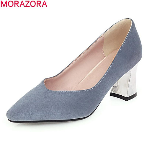 MORAZORA big size 33-47 new fashion high heels shoes comfortable flock pointed t