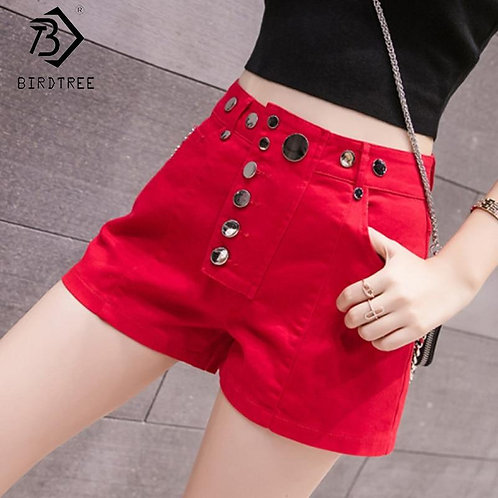 2020 Spring And Summer New Women's Casual Denim Button Fly Pockets Shorts High W