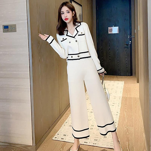 Spring Autumn Women's Sets Lapel Double-breasted Long Sleeve Knit Short Top + Hi
