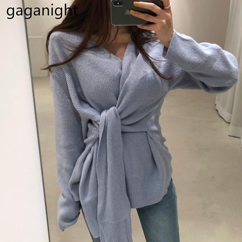 Gaganight Vintage Women Sweater Solid Slim Casual Office Lady Pull Femme Lace Up