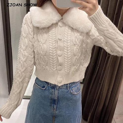 2020 Korea Style Lapel Removable Faux Fur Twist Stripe Knitting Cardigan Women B
