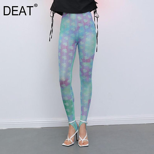 DEAT 2020 new mesh clothes high waist slim colorful printed full lengths legging