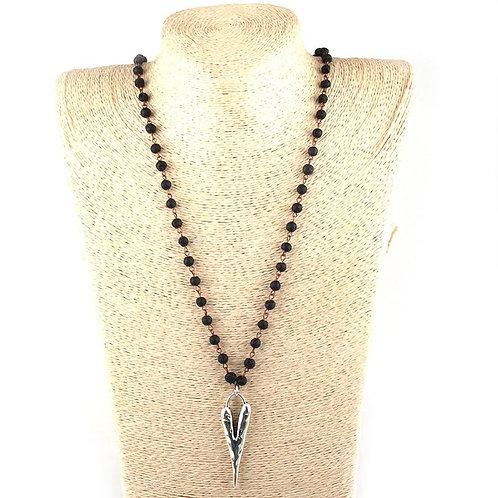 Fashion Bohemian Jewelry 6mm Stone Rosary Chain Metal Heart Pendant Ethnic Neckl