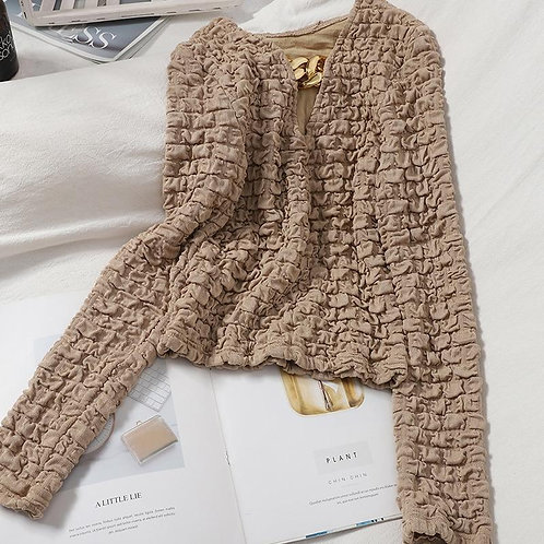 Autumn New Style V-neck Slim Fit Solid Color Short Korean Pullovers Pleated Patt
