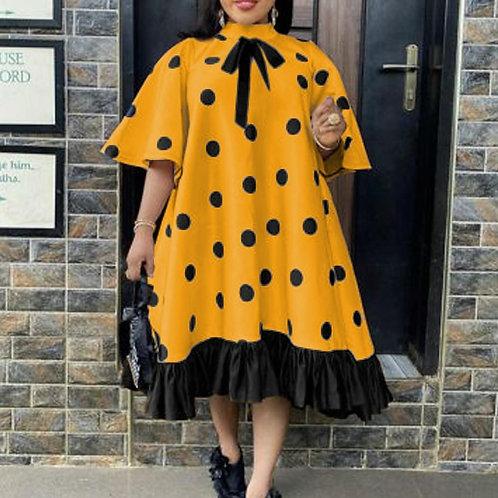 Women Yellow Dress Polka Dot Print Bowtie Lovely Loose Princess Party Ruffle Pat