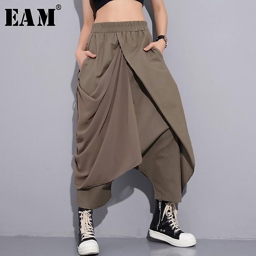 [EAM] 2020 New Spring High Elastic Waist Black Fold Bandage Stitch Loose Long Cr