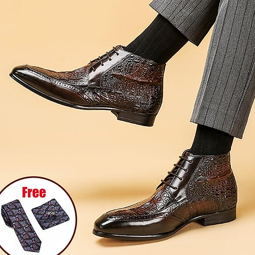 Phenkang Men Full Grain Cow leather Crocodile Texture Ankle Chelsea Boots Brogue
