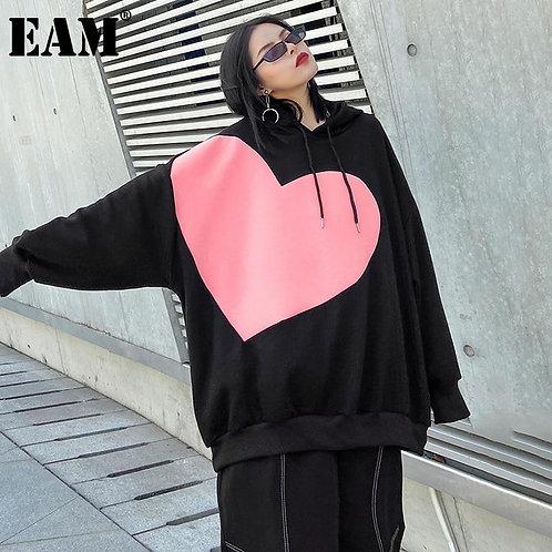 [EAM] Loose Fit Black Pattern Thick Sweatshirt New Hooded Long Sleeve Women Big