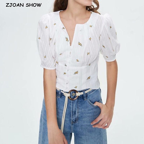 2020 Summer Slit O neck Embroidery Flower White Wrinkly Cotton Shirt Buttons Ret