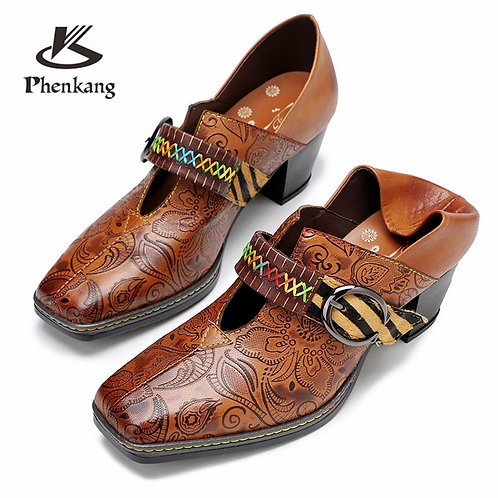 Women genuine leather oxford pumps shoes vintage leather lady oxford heels shoes