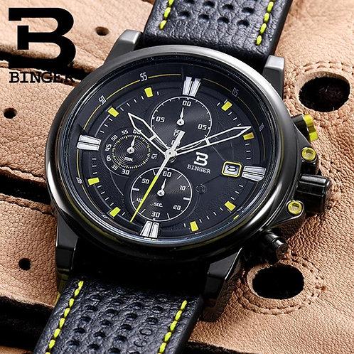 BINGER Mens Watches Top Luxury Brand Waterproof Sport Wrist Watch Chronograph Qu