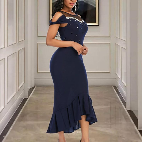 Women Party Dresses with Bead Sexy Patchwork Mesh Cold Shoulder Bowtie Bodycon C