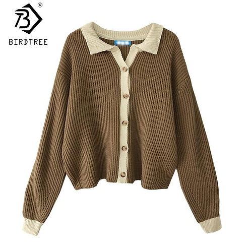 2020 Fall Winter Patchwork Women Cardigans Long Sleeve Turn-Down Collar Knitted