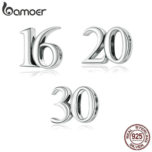bamoer Real 925 Sterling Silver  Simple Numbers Beads Protect Metal Charm fit Or