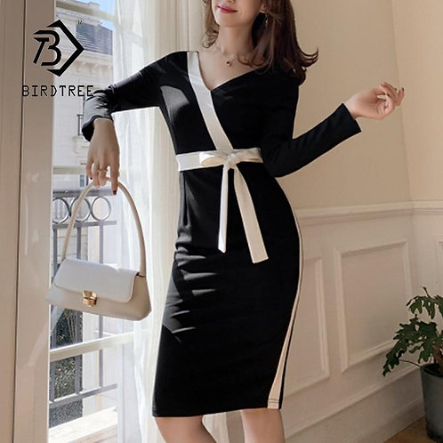 2020 Spring New Elegant Color Block Office V Neck Long Sleeve Dress Women Mid Lo