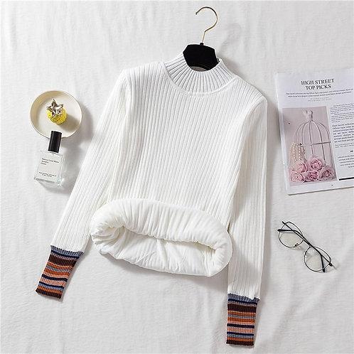 Autumn Winter Women's Top Korean Half High Collar Striped Plus Velvet sweater Ne