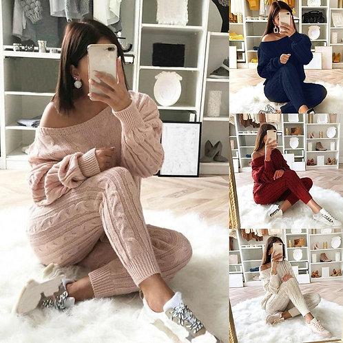 2020 Women's Tracksuit Casual Knit 2 Piece Set Autumn Gym Clothing Long Sleeve S