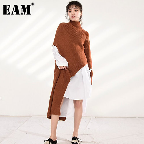 Caramel Long Asymmetrical Knitting Sweater Loose Fit Turtleneck Long Sleeve