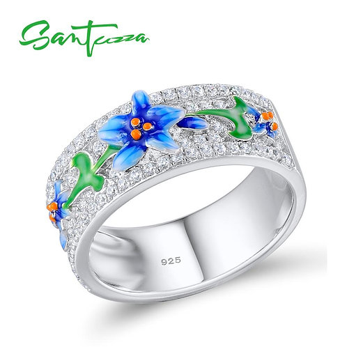 SANTUZZA Silver Ring For Women 925 Sterling Silver Fashion Rings for Women 2017