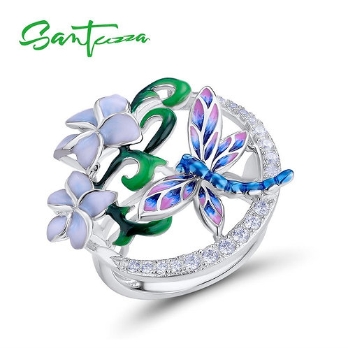 SANTUZZA Silver Ring For Women Pure 925 Sterling Silver Delicate Dragonfly Flowe
