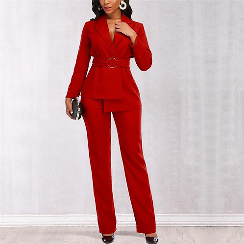Weman Two Pieces Set Blazer Elegant Waist Belt and Wide Leg Pants Fall Jacket Fi