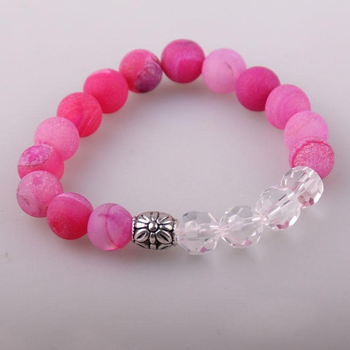 Free Shipping 10mm Glass Crystal and Beautiful Handmade Stretched Druzy Bracelet