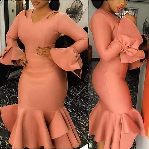 Women Bodycon Party Dress Hollow Out Shoulder Ruffles Long Sleeves with Bowtie E