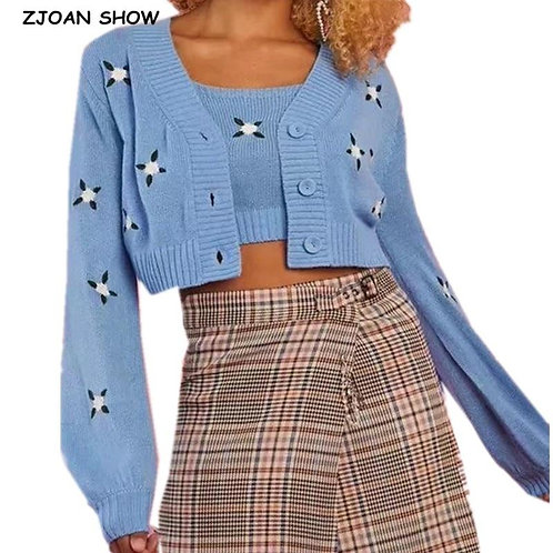 1 set Autumn Korea Style Vintage Embroidery Flower Cardigan Cropped Tank Top Sin