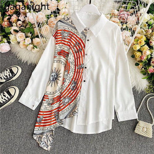 Gaganight Fashion Women Blouse Long Sleeve Irregular Elegant Office Lady Shirt C
