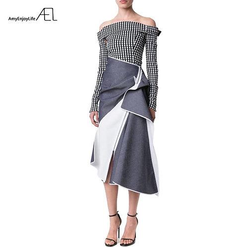 AEL High Waist Patchwork Denim Skirt Flounce Ladies Longuette 2017 Saia Midi Sum