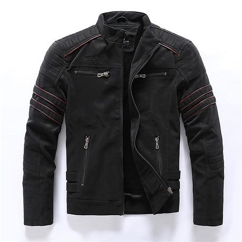 Autumn Winter Men's Leather Jacket Casual Fashion Stand Collar Motorcycle Jacket