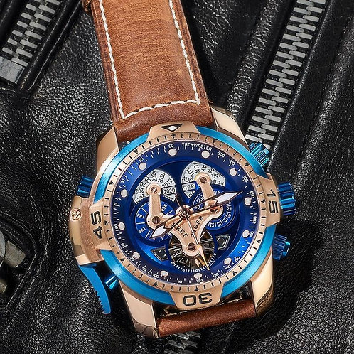 Reef Tiger/RT Top Brand Men's Sport Watch with Calendar Blue Dial Brown Leather