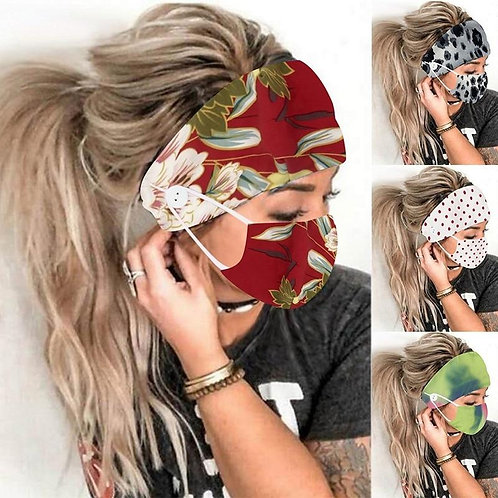 2 PCs Christmas Yoga Earmuff Headbands With Button Women Outdoor Casual Floral H
