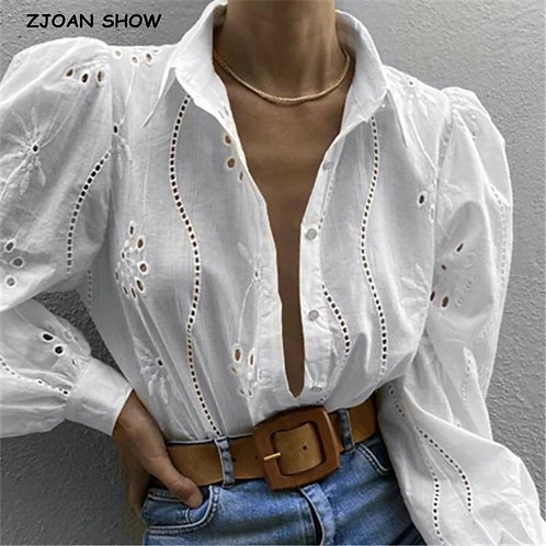 2020 Chic Lace Stitching Hollow Out Hole Embroidery Shirt French style Women Lap