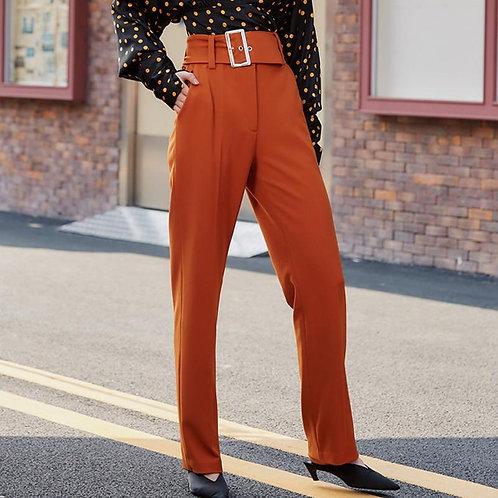 AEL Spring elegant slim Women hight waist Pants with belt Female office ladies A