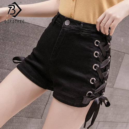 2020 Spring And Summer New Women's Casual Denim Shorts Button Fly Cross Ribbons