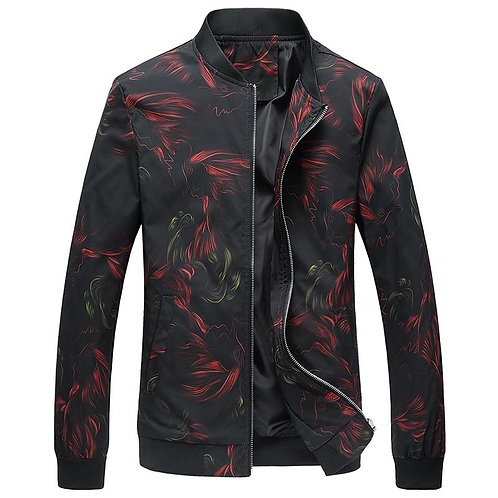 Drop Shipping 2020 New Autumn men floral jackets stand collar bomber jacket and