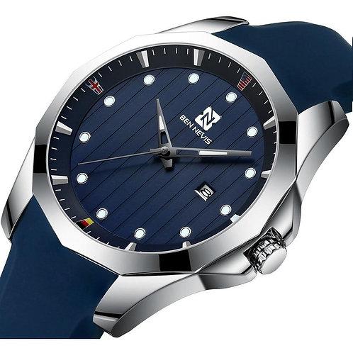Men's Watches BEN NEVIS BN3012G Silicone Strap Watch for Men Soft Watchband Date