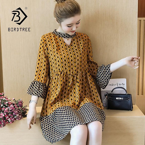 New Arival Summer Women Elegant Patchwork Flare Sleeve Dress Lady Clothes Fashio
