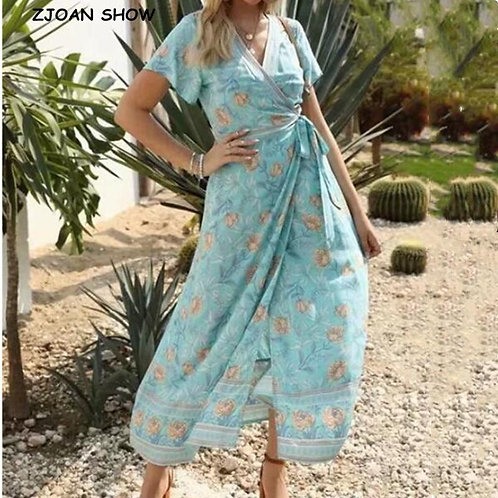 2020 Cross V neck Location Flower Print Short Sleeveless Wrap Dress Woman Tie bo