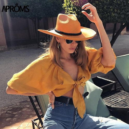 Aproms Elegant Casual V-neck Tie Bow Summer Shirt Women Long Sleeve White Croppe