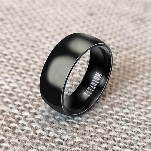 8mm Punk Men Titanium Steel Plain Wide Band Finger Ring Jewelry Birthday Gift