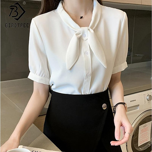 Casual Shirts For Women 2020 Summer Bow Short Sleeve Single-breasted Chiffon Blo