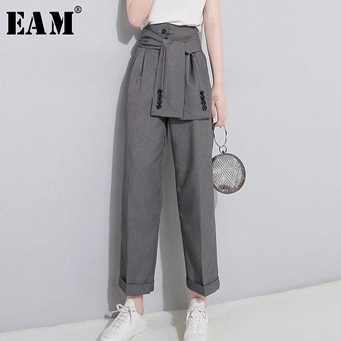 [EAM] 2020 Spring High Waist Lace Up Black Slim Temperament Tide Trend Fashion N