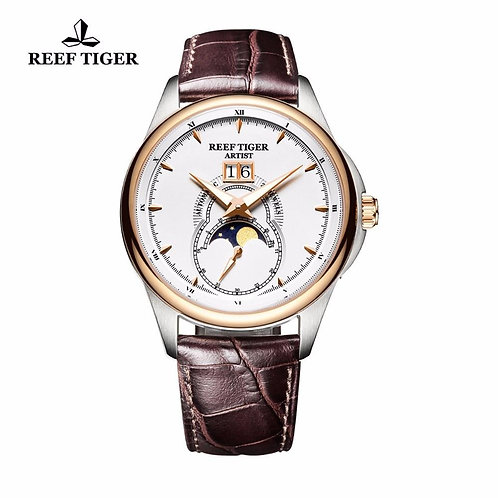 Reef Tiger/RT Fashion and Generous Watches for Men Mechanical Moon Phase Watches