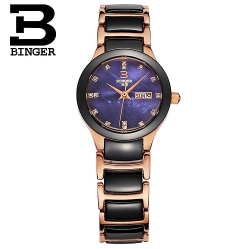 BINGER Fashion Women Diamonds Wrist Watches  Black Ceramics Watchband Top Luxury