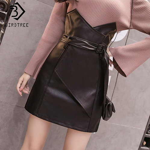 2019 Women's Solid A-Line Short Skirts Zipper Black High Waist Sashes Bottom Sum